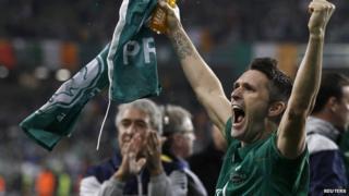 Robbie Keane cheering