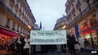 Christians protest in Paris against Golgota Picnic, 29 October