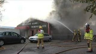 Fire at Broadland Hams, Norwich