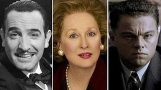 Jean Dujardin in The Artist, Meryl Streep in The Iron Lady and Leonardo DiCaprio in J Edgar