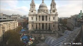 Tents outside St Paul's Cathedral