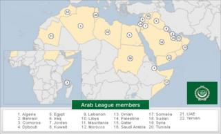 Map showing Arab League members