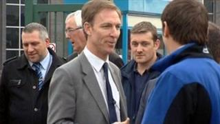 Shadow defence secretary Jim Murphy chatting to BAE workers