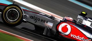 Jenson Button in Formula One car