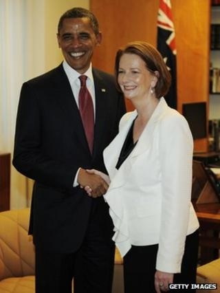 US President Barack Obama arrives for a meeting with Australian Prime Minister Julia Gillard in her office at Parliament house in Canberra, 16 November 2011