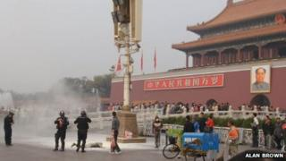 An image from the scene of the self-immolation in Beijing's Tiananmen Square (image dates from 21 October 2011, copyright Alan Brown)