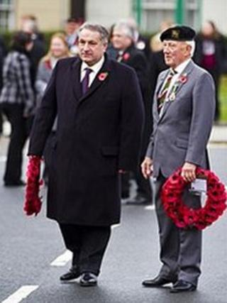 Nigel Dyer (right) on Remembrance Sunday last year
