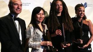 National Book Award winners Stephen Greenblatt, Thanhha Lai, Nikky Finney and Jesmyn Ward