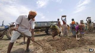 Work under India's rural jobs scheme in Andhra Pradesh