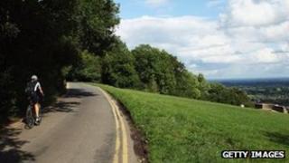 Cyclist on Box Hill