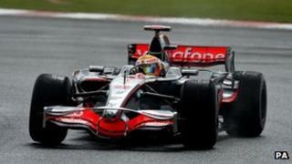 Lewis Hamilton driving a F1 car