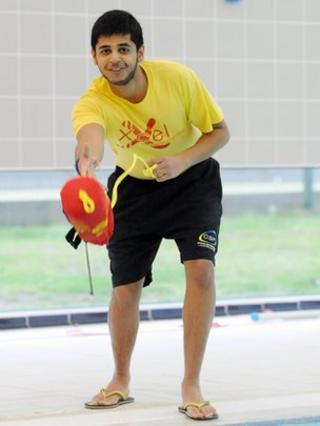 Viveak Phull working as a lifeguard