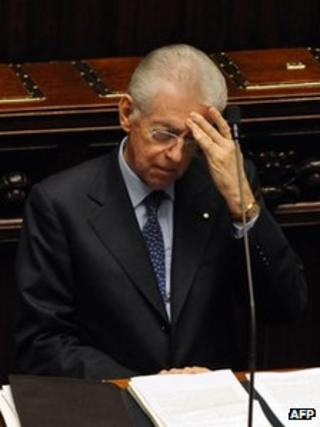 Mario Monti in the Senate in Rome (17 Nov)