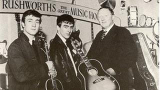 John Lennon and George Harrison in Rushworths, Liverpool