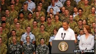 US President Barack Obama and Australian Prime Minister Julia Gillard at RAAF Darwin on November 17