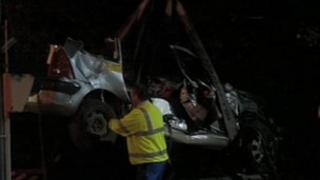 Wreckage of the car that was hit