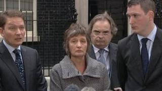 Michael Finucane, Geraldine Finucane, Peter Madden, John Finucane outside Downing Street