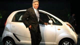 Ratan Tata with the Nano, Jan 2009