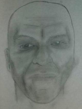 Artist's impression of man found dead on beach