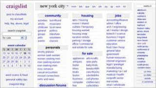 Craigslist homepage 18 November 2011