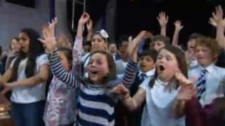 Scottish schoolchildren rehearsing for Children in Need