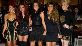 Little Mix with their mentor Tulisa Contostavlos