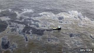 An aerial view of the oil spill off the coast of Brazil