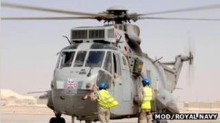 RNAS Culdrose Sea King helicopter in Afghanistan: Pic RNAS Culdrose