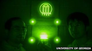 The phosphorescent material seen through a night-vision device