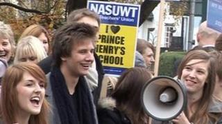 Striking teachers at Prince Henry's Grammar School