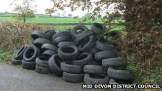 Tyres illegally dumped in Devon lay-by: Pic Mid Devon District Council