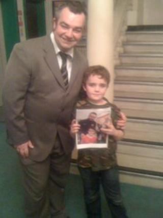 Kieran O'Shea with his father Rob and a picture taken of him and Ryan Giggs