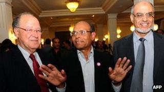 Mustafa Ben Jaafar (L) of the Ettakatol party, Moncef Marzouki of the Congress for the Republic Party (CPR), and Hamadi Jebali of Ennahda - 21 November 2011