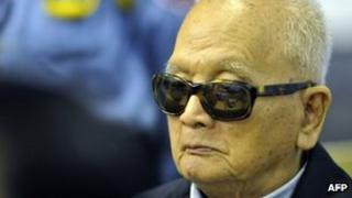 Nuon Chea, in court on 22 November 2011