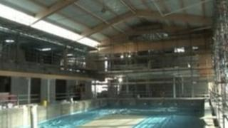 The pool at Dorchester Sports Centre - in construction