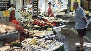 Fishmonger at Bolton Market