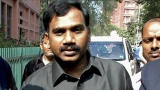India's former telecoms minister A Raja in Delhi on 17 February 2011