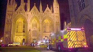 Fire engines outside Peterborough Cathedral, 2001