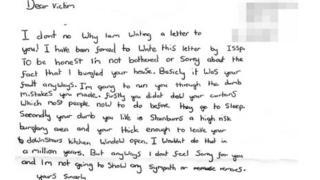 Burglar's letter