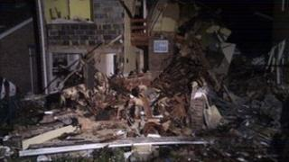 Damage to the property on Sutherland Chase following the explosion. Picture taken by BBC's Matt Treacy