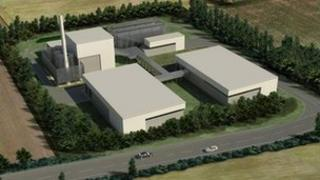 Computer generated image of the Mendlesham Renewable Energy Plant