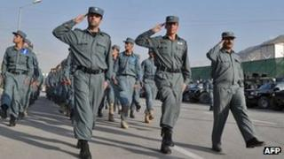 Afghan police officers on parade in Kabul, 31 October 2011