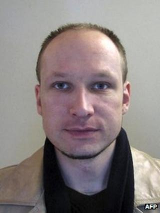 A passport photo of Anders Behring Breivik in 2009