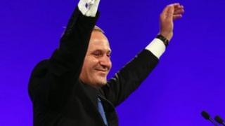 National Party Leader and Prime Minister elect John Key celebrates