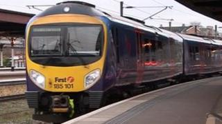 First TransPennine Express train arrives at York station