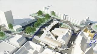 An artist's impression of the new bus station in Northampton.