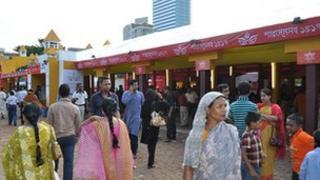 File picture of Hindu Durga Puja celebration in Dhaka