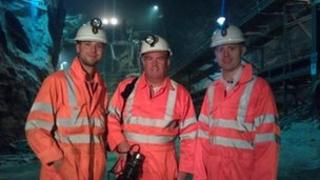 Barra Best (far right) in salt mine