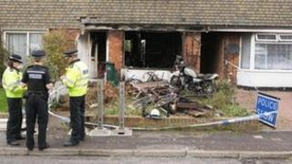 The burnt-out property in Mill Close, Portslade