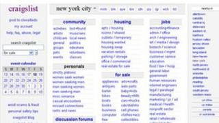 Craigslist homepage 18 November 2011